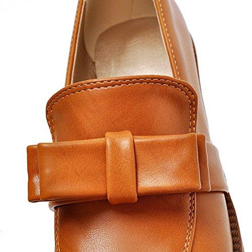 AllhqFashion Femme Pu Cuir Couleur Unie Tire Rond à Talon Correct Chaussures Légeres Brun