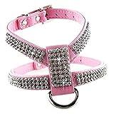 EPRHY Hundehalsband mit Strasssteinen, PU-Leder, Rosa