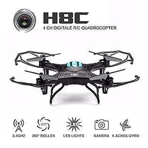 ONCHOICE H8C Quadrocopter Drohne mit 2MP HD Kamera Quadcopter Spielzeug Schwarz