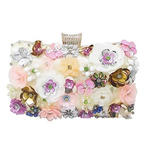 LCLZ Frauen Perlen Bestickte Farbe Blumen Square Party Abendtasche Diamant Metallkette Schulter...