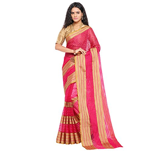 sarvagny clothing art silk rani color daily wear party wear saree with...