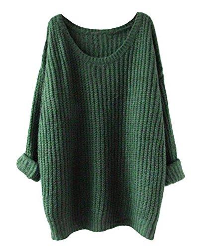 Minetom Mujer Otoño Invierno Primavera Jerséy Suéter Manga Larga Tapas Suelto Pullover Verde One size