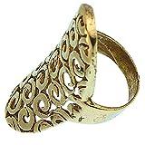 Chic-Net Messing Ringe oval gebogen 4 cm Spiralen Kreise Brass antik golden nickelfrei Tribal Schmuck 52 (16.6)