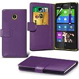(Purple) Nokia X Custom Designed Stilvolle Accessoires zur Auswahl Schutzmaßnahmen Kunst Credit / Debit-Karten-Leder-Buch-Art Wallet Case Hülle, Retractable Touch Screen Stylus Pen & LCD-Display Schutzfolie von Hülle Spyrox