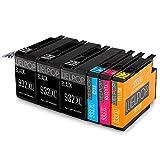 WELPOP Ersatz für HP 932XL 933XL Druckerpatronen Hoher Reichweite (3 Schwarz/1 Gelb/ 1 Blau/ 1 Rot) Kompatibel für HP Officejet 6700 Premium 6600 7612 7110 6100 7610