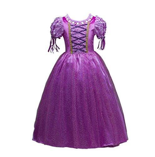 Lonchee Kleine Mädchen Prinzessin Rapunzel Kostüm Kleid Puffärmeln,Cosplay Halloween Geburtstag Party Kleid Fancy Kleid Mädchen Kinder Kleid Halloween (Kostüm Junge Zirkusdirektor)