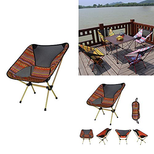 Konesky Faltender kampierender Stuhl, Tragbare ultraleichte Rucksackstühle Leichtes Aluminium Camping Angeln Wandern Schemel Reisestuhl (Naranja)