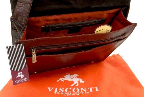 Umhängetasche A4 - kindle/iphone/MP3 kompatibel - Büffel Leder von Visconti (ML23) - Braun - GRÖßE: B: 35.5 H: 34 T: 5 cm Braun