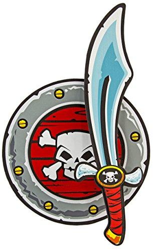 Schaum-Stoff Piraten-Schild (33cm) und Schwert (53cm) Kinder Spielzeug 2-tlg. Seeräuber-Waffen Soft-Säbel Schutz Moosgummi Zubehör Verkleidung Kostüm Fasching Karneval Halloween (Schaum Piraten Schwert)
