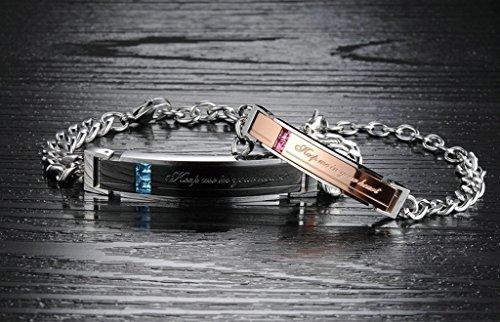 """AMDXD Schmuck Paar Armband mit Gravur """"Keep me in your heart"""" Zirkonia Edelstahl Silber - Sie uns Ihn"""