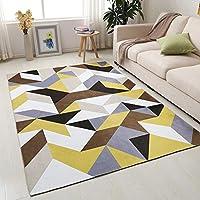 DMGY Modern Geometry Area Teppich Für Wohnzimmer, Flanell Rutschfestes  Dreieck Gelb Grau Braun,160Cm