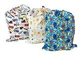 """Un pratico set di 3 sacche impermeabili per bucato per riporre pannolini sporchi, abiti, etc., che non mancano mai in presenza di neonati e bambini! È un set composto da 3 sacche impermeabili colorate, come specificato nei """"dettagli tecnici"""" ..."""