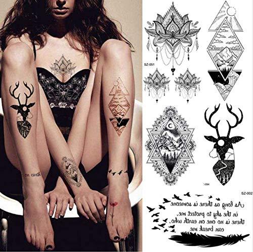 ZHAOHH Tribal Black Elk Temporäre Tätowierung Aufkleber Weibliche Körperkunst Arm Bein Inspiration Tattoo Männer Geometrische Gefälschte Tätowierung Deer Brust Zufällig 1 Paket