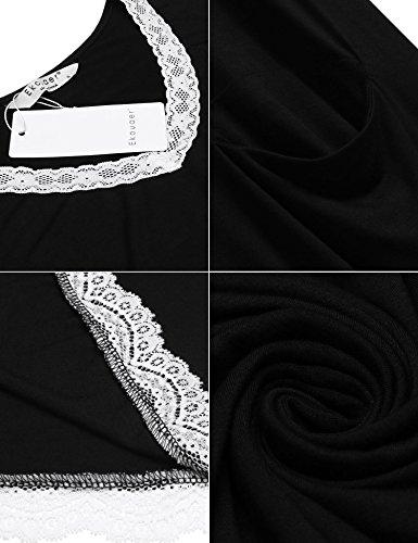 Ekouaer Damen Nachthemd Kleid Nachtwäsche Negligees Nachtkleid Sleepshirt Kurzarm Mit Spitzenbesatz (S-XXL) Schwarz
