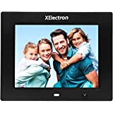 XElectron 8 inch Digital Photo Frame 4:3 Full High Resolution with Motion Sensor and Remote Control Plays Picture/Music/Video by USB, SD/MMC, Clock and Calendar Function