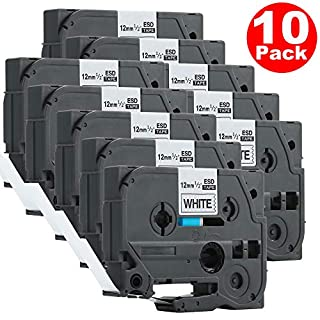 10 x TZ231 TZe231 12mm x 8m Black on White Compatible Brother Label Tapes by ACENTIX, for Brother P-Touch PT-1000 GL-H100 GL-H105 GL-200 PT-1080 PT-P700 PT-H300 Label Printing Machines