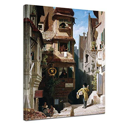 Wandbild Carl Spitzweg Der Briefbote im Rosenthal - 30x40cm hochkant - Wandbild Alte Meister Kunstdruck Bild auf Leinwand Berühmte Gemälde -