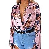 Damen Jumpsuits , Frashing Frauen Floral bedruckte Tuxedo Wrap Over Satin Bodysuit Overall Hemd Siamesische Hosen Playsuit Beachwear Romper (S, Rosa)