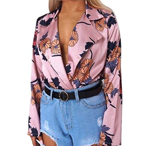 Damen Jumpsuits , Frashing Frauen Floral bedruckte Tuxedo Wrap Over Satin Bodysuit Overall Hemd Siamesische Hosen Playsuit Beachwear Romper (S, - Bodysuit Tuxedo