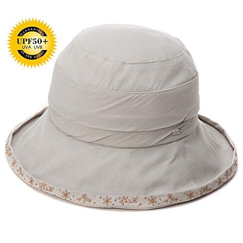 SIGGI Damen Faltbare Sonnenhüte Fischerhüte mit Sonnenschutz SPF 50 + breite Krempe grau