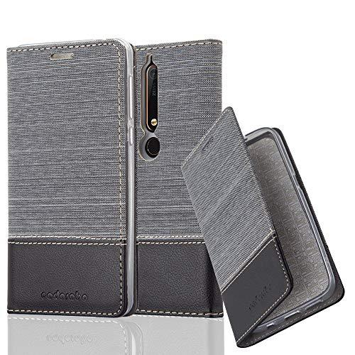 Cadorabo Hülle für Nokia 6.1 2018 - Hülle in GRAU SCHWARZ – Handyhülle mit Standfunktion und Kartenfach im Stoff Design - Case Cover Schutzhülle Etui Tasche Book