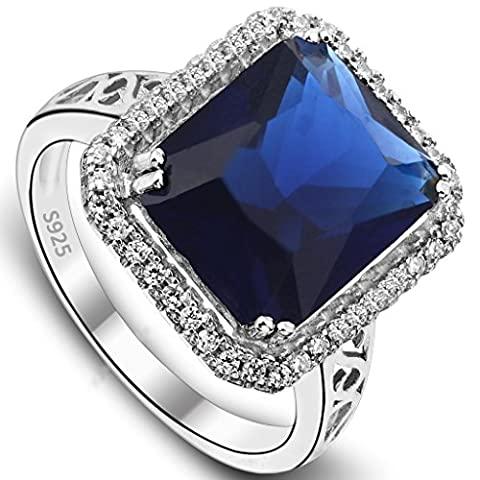 EVER FAITH® 925 Sterling Silver Sapphire Color 3ct Radiant Cut CZ Engagement Ring - Size O N06866-1