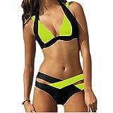 SUNNOW® Hot Sexy Bikini Criss Cross Double Bandage deux pièces Maillot de bain rembourré Trikini Push-up (L, Jaune)