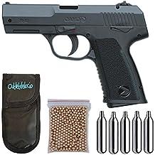Pistola Perdigón Gamo PX-107 4,5mm. + Funda Portabombonas + Balines + Bombonas co2. 23054/29318/38123