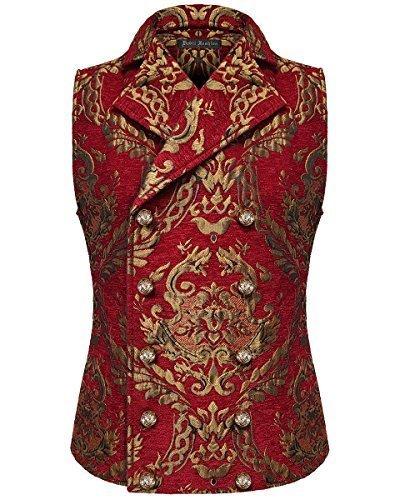 Devil Fashion Hombre Chaleco Oro Rojo Damasco Gótico Steampunk ARISTÓCRATA - Rojo, Large