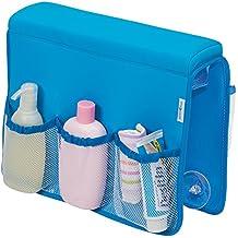mDesign - Organizador de ítems del bebé/niño pequeño, para apoyar sobre perfil de bañera, con soporte para botellas; organiza biberones, champú - Azul