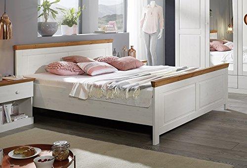 Bett Doppelbett 180x200cm 'Nicole-Honig' Kiefer weiß massiv Holz Landhaus