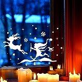 Fensterbild Wichtel & Rentier Winter Fensterdeko L 40x24cm Fensterbilder Winterlandschaft + Sterne & Schneeflocken M2266 ilka parey wandtattoo-welt®