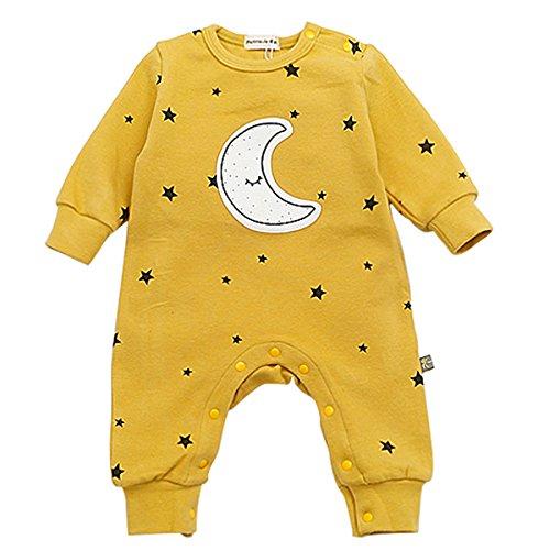 Bebone Baby Strampler Jungen Mädchen Overall Stern und Mond Babykleidung (9-12 Monate/90, Gelb) - 9 Monate Overall