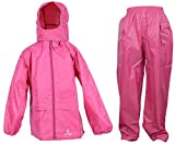 """Dry Kids wasserdichtes 2er-Set Regenjacke und Regenhose, aus Polyester, reflektierend, in """"Pink"""", geeignet für Jungen und Mädchen, ab 7 bis 8 Jahren"""