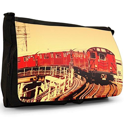 Fancy A Bag Borsa Messenger nero Speeding Orange Train Engine Red New York Subway Train