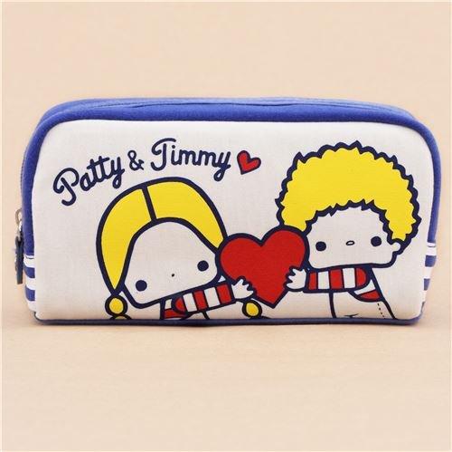 Dunkelblaue hellcremefarbene Patty und Jimmy Kinder Federtasche aus Japan