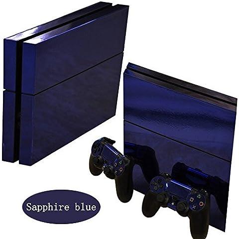 Ps4 Playstation 4 Consola Design Foils Sticker Decal Pegatinas + 2 Controlador Skins Set (blue glossy)