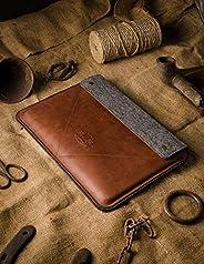 Funda/Cubierta para MacBook Pro 13/15/16 pulgadas 100% fieltro de lana hecho a mano, cuero estilo Crazy Horse