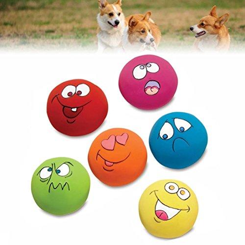 squarex Quietschball mit Gesicht, 6 Stück
