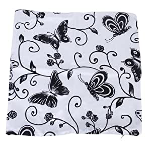 2pcs 45X45cm Taies d'oreiller Housses de coussin avec Motifs de Fleurs et de Papillons