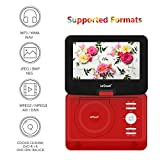 from ieGeek ieGeek 13.8 HD Portable DVD Player Extended Battery Life Swivel Screen Resume Play Compatible SD Card and USB SYNC Screen with TV Support AVI/RMVB/MP3/JPEG, Red Model IK-101