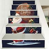 Treppenaufkleber Weihnachten Verkleiden Sich Treppen Santa Claus Geschenke Treppen Dekorative Wandsticker 18CM*100CM*6 Stück