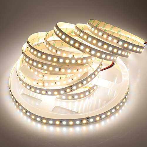 LTRGBW Super Bright no-impermeable 2835 SMD 24V 600leds Bi-coloreado blanco caliente frío frío fresco temperatura ajustable LED tiras de luz para la iluminación de la cocina casera y lámparas de centelleo de Navidad 16.4ft (5m)