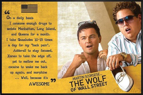 The Wolf of Wall Street Poster Awesome (62x93 cm) gerahmt in: Rahmen schwarz -