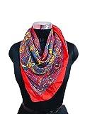 REEMA PRINTS Women Art Silk Scarf (Red_100 X 100 cm)