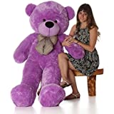 Peony Soft Teddy Bear Birthday Gift For Girlfriend/Wife Happy Birthday Teddy With Heart Soft Toy 3 Feet Long Purple