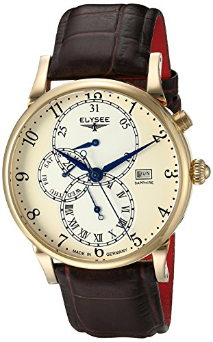 Elysee Daidalos Men's Quartz Watch with Beige Dial Analogue Display and Brown Leather Strap 80515