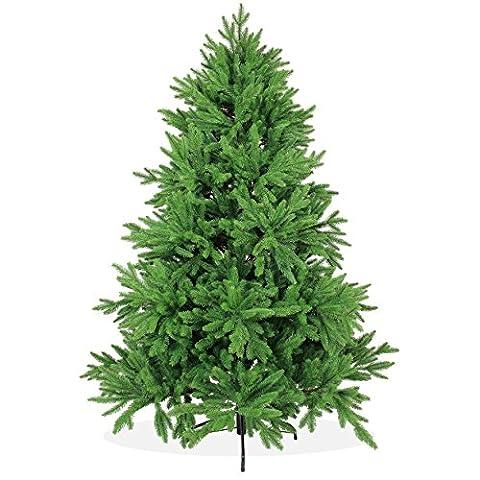 Künstlicher Weihnachtsbaum 180cm DeLuxe in Premium Spritzguss Qualität, grüne Nordmanntanne, Tannenbaum mit PE Kunststoff Nadeln, wie echt wirkend, Nordmannstanne Christbaum,