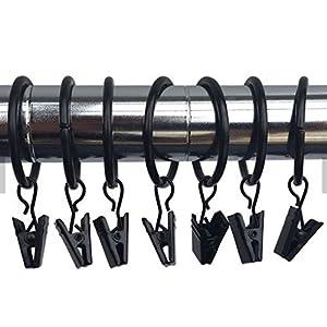 Marwotec 30 STK. 35mm Durchmesser Mehrzweck Vorhang Clips Schwarz Gardinenstange Gardinenringe Vorhangringe mit Clips