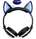 LIMSON Bluetooth Kopfhörer mit Mikrofon und Lautstärkeregler Wireless, Over Ear Headpones Cat Ohr Headsets mit Leuchtendem LED Blitzlicht (Schwarz)